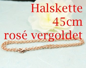 45cm Jasseron necklace with extra ring rose gold plated art. 3205