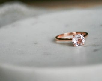 Round Morganite Solitaire Engagement Ring, Rose Gold Wedding Ring, Engagement Ring, Morganite Rose Gold