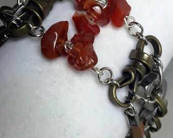 Handmade Men's Genuine Carnelian Gemstone Stainless Steel Hex Nut Leather Bracelet