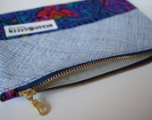 Handmade, Upcycled, Recycled Zipper Pouch, Make-Up Bag, Pencil Case, Colour Block, Tribal