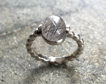 Rutilated Quartz Ring, Black Rutilated Quartz, Pandora Band, Stackable Ring, Solid Silver Ring, Sterling Silver Ring, Rutilated Quartz
