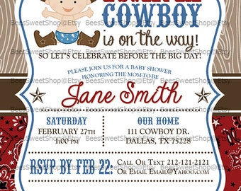 Cowboy Baby Shower Invitations Printable Digital File | Personalized