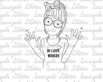 Book Lover Digital Stamp by Sasayaki Glitter