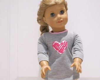 American Girl Doll Grey Sweater With Scribble Heart