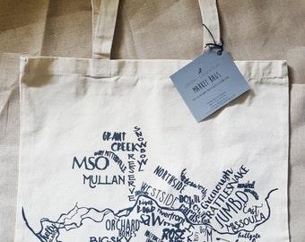 Missoula Tote Bag, Hand Printed Tote,
