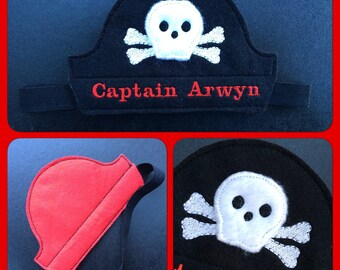 Pirate Hat, Pirate theme Cake smash oufit hat, Personalised Fancy Dress Costume, Birthday Crown, Pirate headgear, Personalized pirate hat