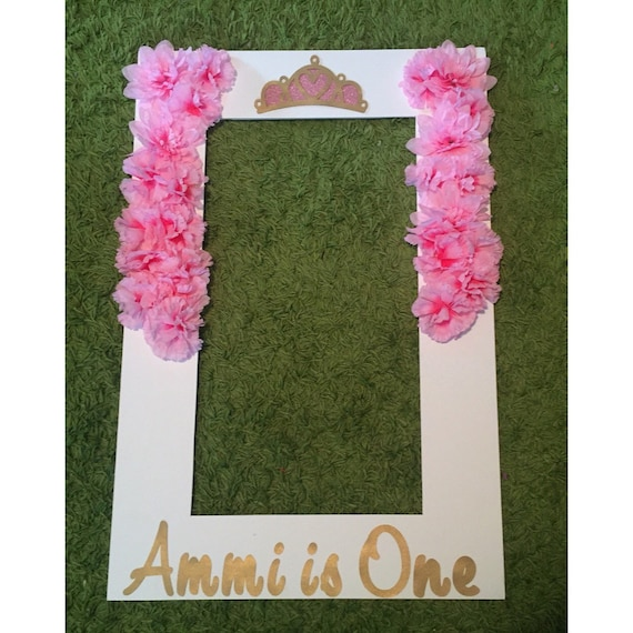 Floral princess photo frame party prop foam board custom for Making a large picture frame