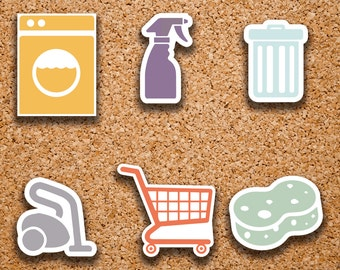 72 Cleaning/Chore | Laundry, Vacuum, Spray Bottle, Grocery Cart, Trash, Sponge Icon Stickers for 2017 Inkwell Press IWP-DC1