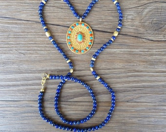 Lapis lazuli gemstone necklace with pendant gold plated 925 silver filigree, Tibetan turquoise and coral (ref. KC044)