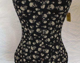 Black Skull print Corset with Hook front closure and Lace up back
