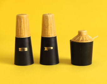 Vintage Salt & Pepper Shakers and Mustard Pot with Unusual Original Spoon - Mid Century Kitchen