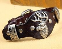 Handmade Brown Leather Studded Dear Bracelet - Deer Head Bracelet - Deer Jewelry - Mens Buckle Bracelet - Nature Bracelet - Animal Bracelet