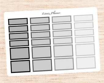 Quarter & Half Boxes Black and Grey Functional Basics (matte planner stickers, Erin Condren, Happy Planner)