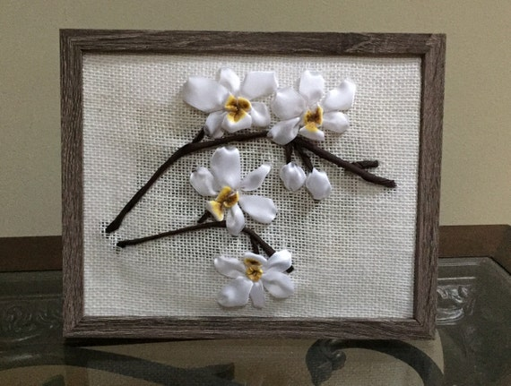 Framed ribbon embroidery wall decor orchids handmade home
