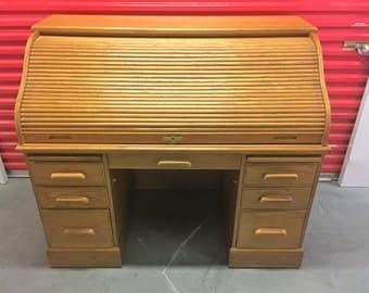 Solid Oak Roll-Top Desk w/ Keys