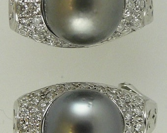 Tahitian Black 10.8mm Pearl Earring with Diamonds 1.39ct 18k White Gold