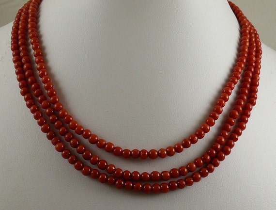 Italian 4.4 mm - 4.7 mm Coral Triple Strand Necklace With 14K Yellow Gold Clasp