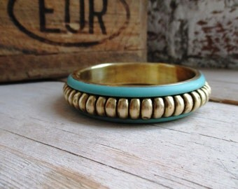 VINTAGE Brass bangle bracelet with Mint green enamel and polka dot pattern