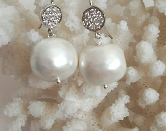 Silver pave cubic zirconia earrings and Baroque pearls