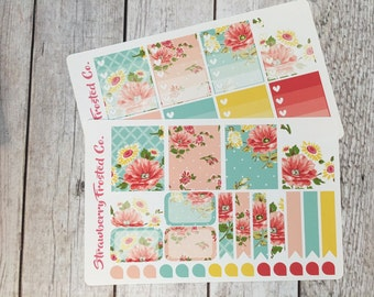 Sky Blue and Cream Shabby Chic Themed Planner Stickers - Made to fit Vertical Layout