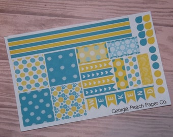 Lemon and Teal Floral Themed Planner Stickers- Made to fit Horizontal Layout