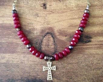14k gold Faith Cross Necklace