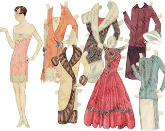 Paper Doll Instant Digital Download 1920s Hand Drawn Art Deco Printable