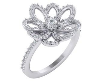 Diamond Ring, Lotus Flower Diamond Ring, Lotus Flower Diamond Jewelry, Flower Diamond Engagement Ring, Unique Diamond Jewelry