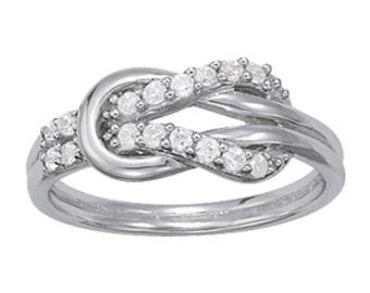 Knot Diamond Band, Infinity Diamond Band, Love Knot Ring, Love Knot Diamond Ring, Infinity Diamond Ring.