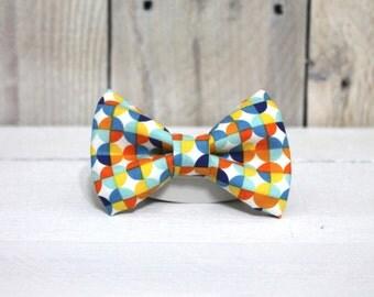 Blue/Orange/Yellow Dog Bow Tie