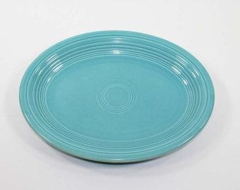 """Vintage Homer Laughlin HLC Genuine Fiesta Ware 12-1/2"""" Turquoise Serving Platter"""