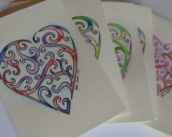 Hand Made Note Cards - Zentangle Hearts - Set of 5