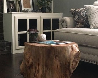 Tree stump table- Rustic and unique end table - reclaimed wood table - rustic home decor