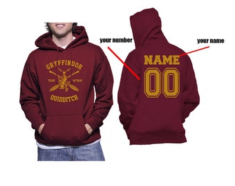 CAPTAIN - Custom back, Gryffin Quidditch team Captain Yellow print printed on Maroon Hoodie