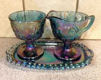 Harvest Grape Creamer & Sugar With Tray