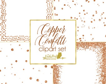 Copper Confetti PHOTO OVERLAYS   Set of 4, 12x12 in PNGs w/ Transparent Backgrounds   Copper Glitter Clipart   Decorative Photoshop Overlays