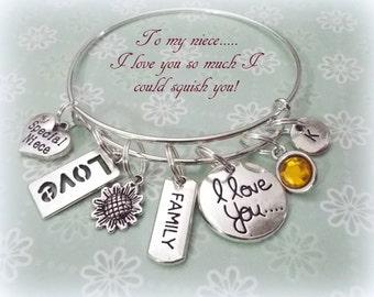 Niece Gift, Niece Charm Bracelet, Gift for Niece, Personalized Niece Gift, Personalized Jewelry, Jewelry for Niece, Gift for Her