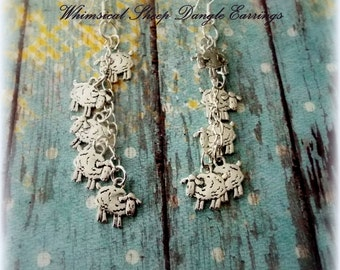Silver Tone Sheep Dangle Earrings, Gifts for Her, Womens Gifts, Womens Jewelry