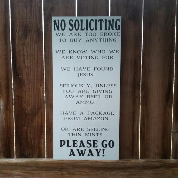 No soliciting sign funny porch signs funny by - Funny soliciting signs ...