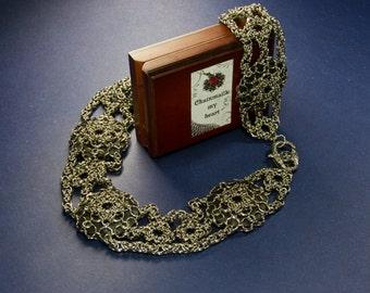 Womens belt \ Black leather belt \ Chainmaille belt
