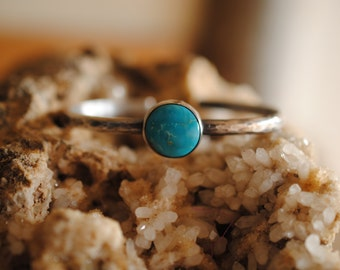 Hammered Turquoise Cuff   Sterling Silver