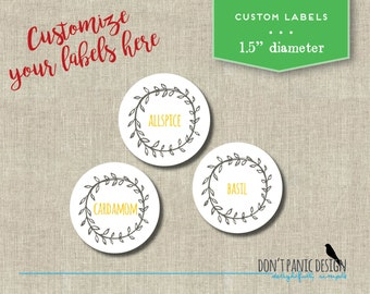 Printable Spice Jar Labels - Rustic Floral Border Brown Gold Round Spice Jar Labels - Home Organizing Stickers - Custom Labels