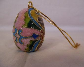 Vintage Chinese Cloisonne Gold Color Trim Pink Enamel Egg Home Ornaments Flower Floral