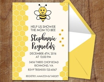 Bumble Bee Baby Shower Printable Invitation, Bee Baby Shower Invite, Honeycomb Baby Shower Invite, Bee and Honeycomb Gender Neutral Invite
