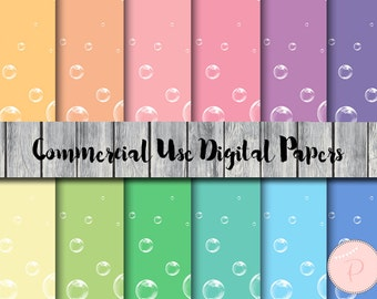 Bubble Pattern Digital Papers, Pastel, Rainbow, Colorful, Commercial Use, Abstract Scrapbook Digital Papers, Digital Background, DP121