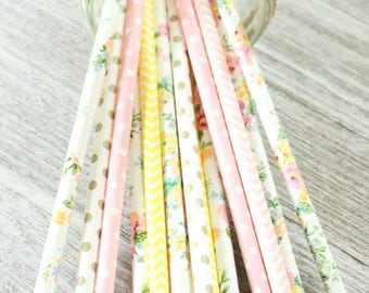 Pink and Yellow floral paper straws-set of 25- garden party straws, tea party straws, pink lemonade flower straws, pink lemonade party