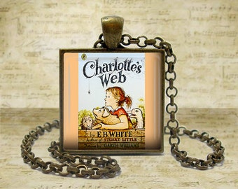 Charlottes Web Book Necklace Literary Gifts Literary Necklace Literature Gifts Book Lover Gift for Teacher Book keyfob Book keychain