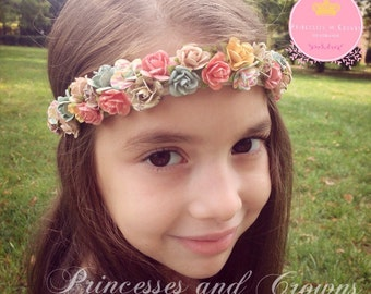 Little girl headband, flower girl, Flower Girl Headband, Girl Flower Crown, Baby Girl Hair Accessories, Little girl photo prop, Shabby chic