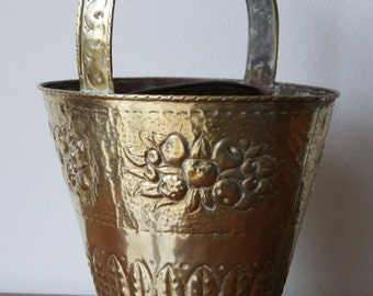 English Brass Embossed and Engraved Bucket with handle Antique
