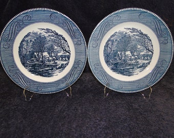 "TWO Currier Ives Royal China Blue and White Dinner Plates Old Grist Mill 10"" Set of 2 EXCELLENT!"